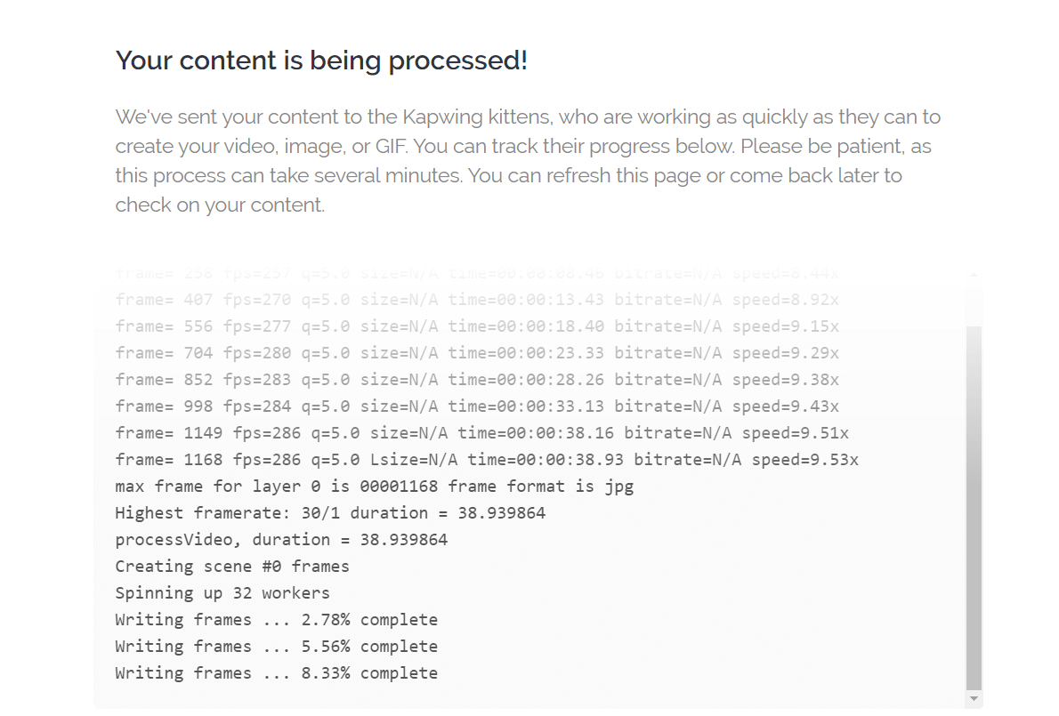Your Content is Being Processed Screen