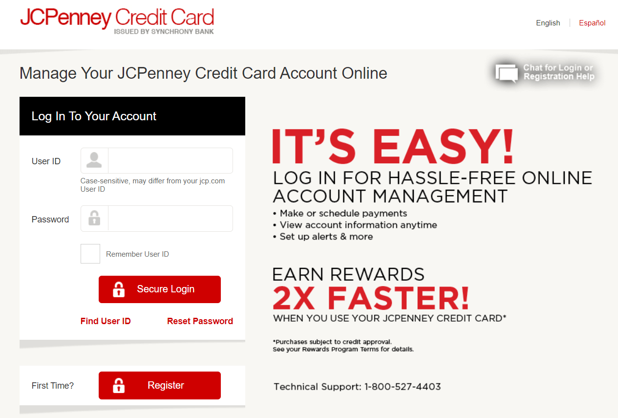 JCPenney Credit Card Sign In Page