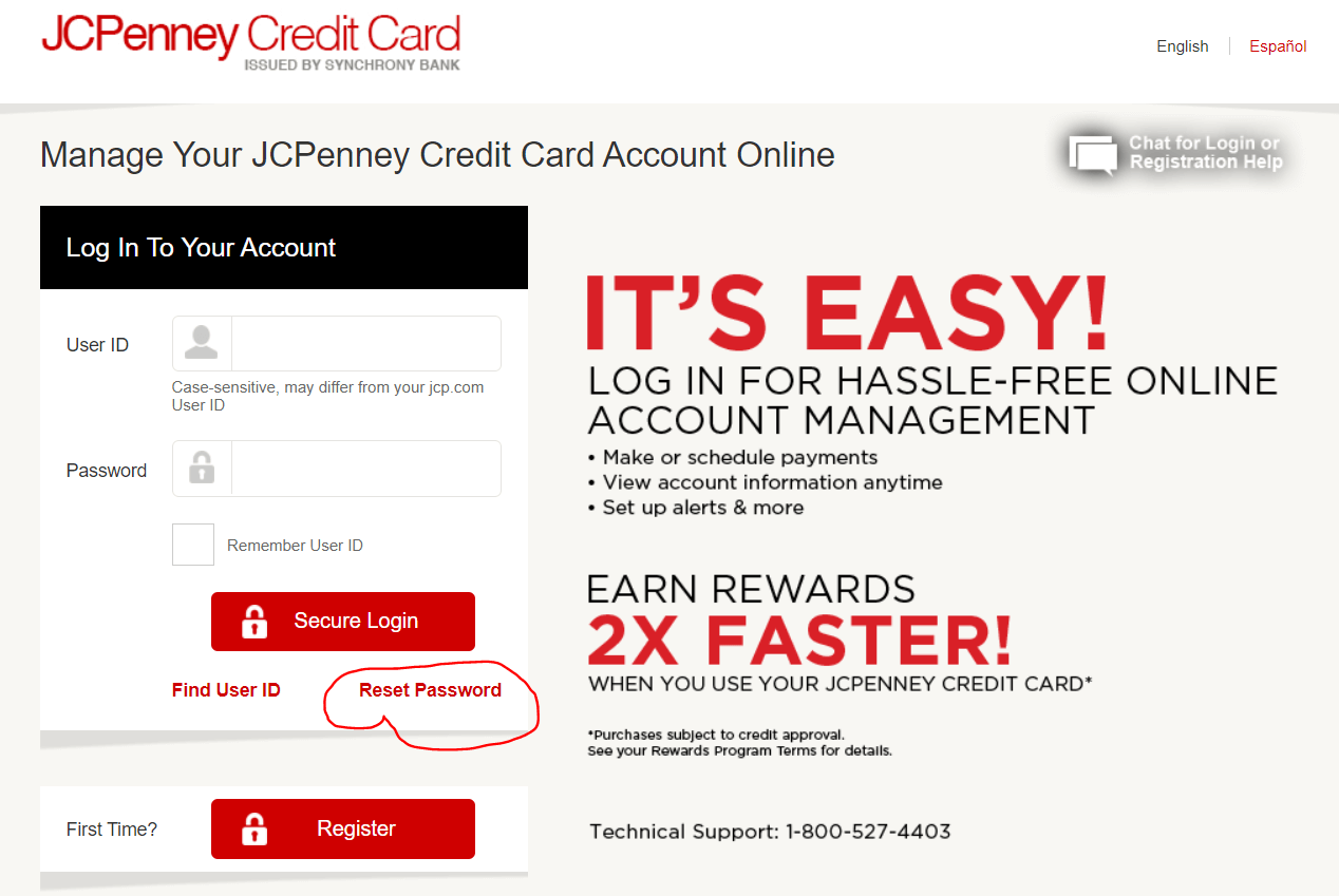 Reset Password for JCPenney Creditcard Account