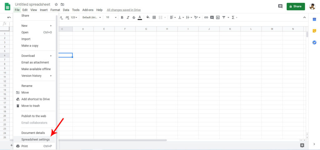 Google Spreadsheet Settings