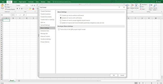 Excel Macro Settings