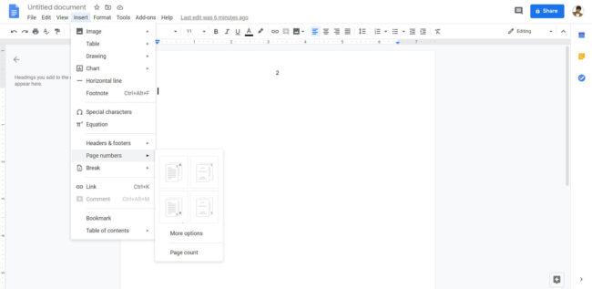 How to Put Page Numbers in Google Docs