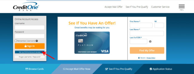 Set up Online Access Account with CreditOne Bank