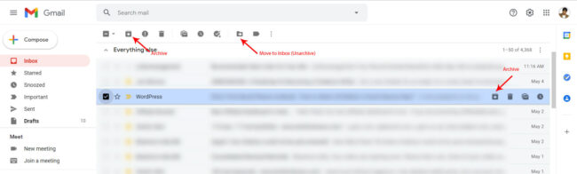Archive and Unarchive Email in Gmail