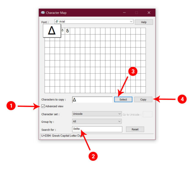 Windows Character Map for Delta Symbol
