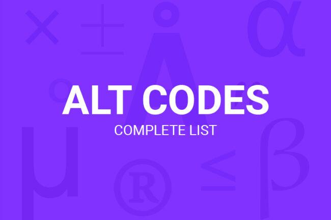 Alt Codes List