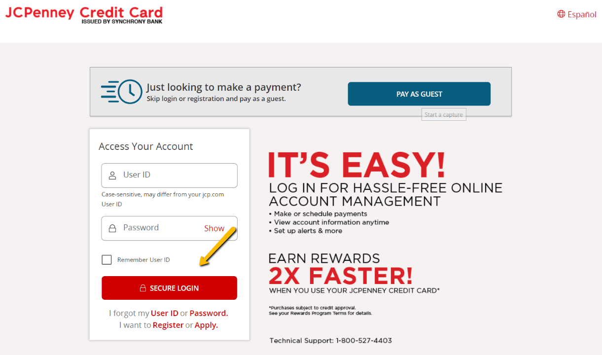 JCP Credit Card Login Page