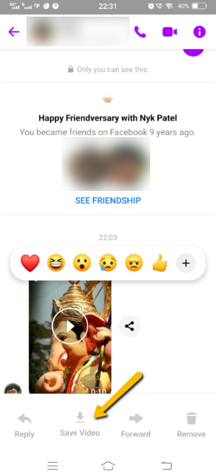 Save Video from Facebook Messenger to Android Phone