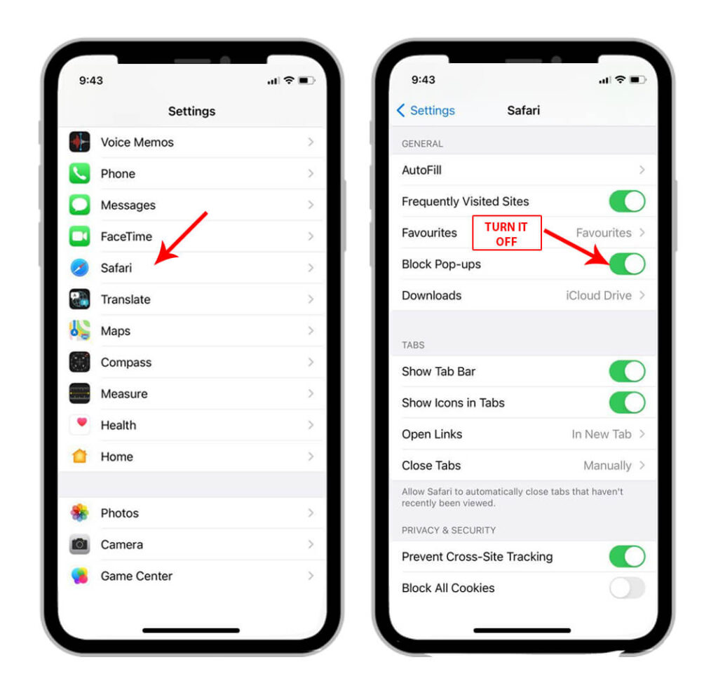 Steps to Turn Off iPhone Pop-Up Blocker