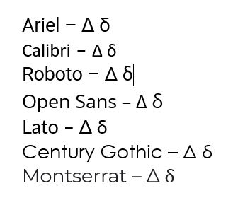 Uppercase and Lowercase Delta Symbol in Different Fonts