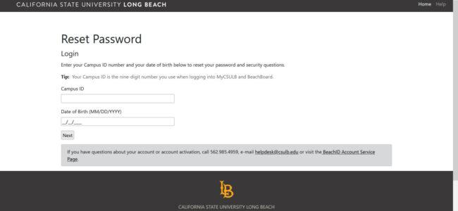 Reset Mycsulb Account Password